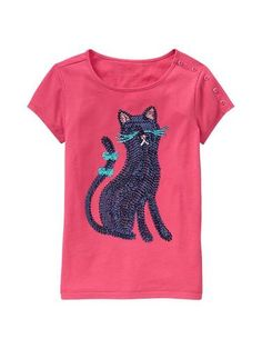 NWT GAP Fall BTS 2012 Girls Cannes Button Cat Graphic Tee S 6 7