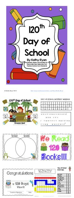 It's time to start celebrating the 120th Day of School! This pack contains everything you need to have your students celebrate this exciting day, while giving them lots of practice with their numbers up to 120. Included are: 120 item Treasure Hunt, Secret Message, Mystery Picture, Venn Diagram, 120 Warm Up Exercises, Posters, and more!
