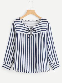 SheIn offers Contrast Stripe Tie Neck Blouse & more to fit your fashionable needs. Kurta Designs, Blouse Designs, Blouse Patterns, Bluse Outfit, Hijab Stile, Casual Outfits, Fashion Outfits, Women's Casual, Fashion Clothes