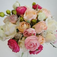 Pink Ranunculus & Rose Silk Wedding Bouquet