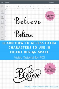 Learn How to Use Extra Font Characters in Cricut Design Space Tutorials - Leap of Faith Crafting Cricut Design Space tutorial on how to use extra font characters to make unique words. Watch the CDS video tutorial on how to use a character map. Cricut Explore Air, Silhouette Cameo, Silhouette Machine, Silhouette Files, Silhouette Projects, Cricut Help, Cricut Air, Cricut Vinyl, Cricut Stencils