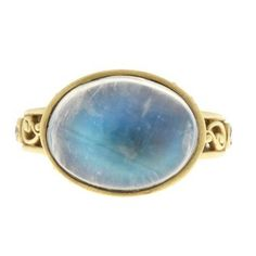 Kissing Paisley ring with moonstone