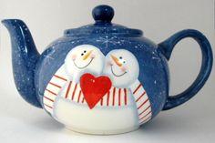 Teapot Snowman In Love On Folk Art Snowflakes Large Folk Art Style 1980s…