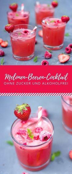 Alkoholfreier Wassermelonen-Beeren-Cocktail ohne Zucker!