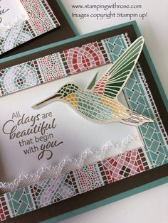 Mosaic Madness, Stampin Up Catalog, Bird Cards, Handmade Birthday Cards, Color Card, Stamping Up, Flower Cards, Stampin Up Cards, Framed Art