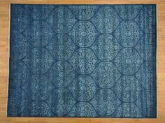 Save 50% on a 9' x 11.5' Handmade Wool and Silk Tone on Tone Mughal Design Oriental Rug