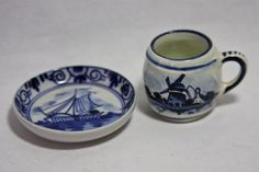 Vintage Delft Hand Painted Miniature Cup and by TheClayPenguin, $18.00