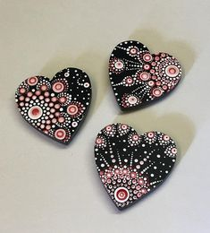 Small Hand Painted Heart Magnets Dot Art Hand Painted Valentine Mom Sister Daughter Women Girls