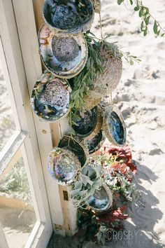 We fanned vintage church pews and coastal white farm chairs across the pristine sands of Santa Barbara for this seaside ceremony. Seashell Crafts, Beach Crafts, Plant Crafts, Decor Crafts, Abalone Shell, Paua Shell, Shell Decorations, Water Features In The Garden, Shell Art