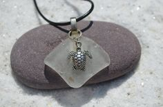 Frosted Sea Glass Necklace with a Silver Sea Turtle Charm