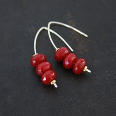 Ruby Jade Crescent Earrings Small by TheRusticSouls on Etsy