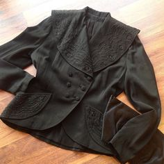 """In search of one bold babe to give this beauty a home.. I mean look at that collar  40s beaded shawl collar blazer   M-L (38-40""""b 30-31""""w 15.5"""" shoulder span 25.5"""" length) $75 great condition!  40s silk satin clutch   $26 as is #40s #1940s #40sfashion #beaded #shopvintage #luckydrygoods #truevintage"""