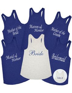 Set of 6 Bridesmaid tank top.Bachelorette party Shirts.6 Personalized Bridesmaids gifts.Wedding Tank top.Custom Bachelorette shirts