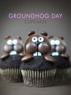 Groundhog Day Cupcakes, free recipe and how to decorate