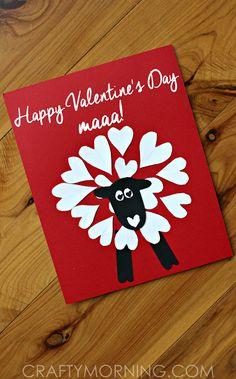 "Heart Shaped Sheep Valentine Craft for Kids (Card idea) ""Happy Valentine's Day Maaa!"" | CraftyMorning.com"