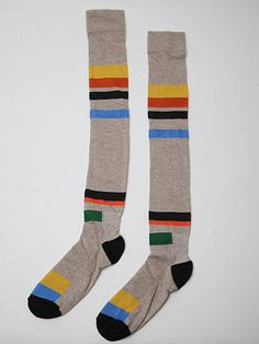 Bernhard Willhelm Men's Zadkiel Socks in beige / multi