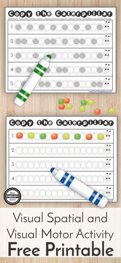 Here is a cute, fun activity for Spring - Copy the Caterpillar Visual Spatial and Visual Motor Activity Freebie. Challenge children's visual-spatial skills and visual motor skills. #visualspatial #visualmotor #freeprintablesSpring #spring #springprintables