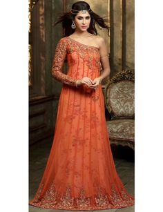 Orange evening party wear designer Indian gown in net Designer Suits For Wedding, Designer Suits Online, Designer Wear, Gown Dress Online, Gowns Online, Indian Evening Gown, Evening Gowns, Evening Party, Orange Gown