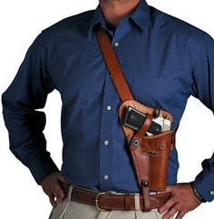 El Paso Saddlery Tanker S&W K Frame Shoulder Holster Right Hand Leather Russet Brown