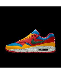 sale retailer 71037 753fd Nike Air Max 1 Mens Essential Id University Red Gold Blue White Gorge Green  Shoes Outlet