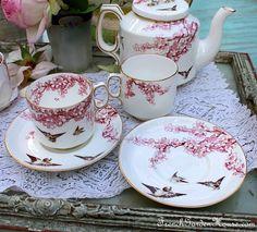Antique Carr & Morrison Birds & Blooms tea set