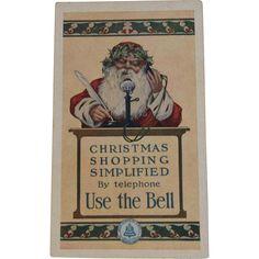 Santa Bell Telephone Trade Card Christmas Shopping Simplified