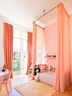 Love this girls room. Attach hardware to ceiling and then do an amazing DIY canopy. I want it for myself!.