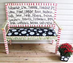 hand painted bench with polka dotted seat.from Emily's Original Art: Funky Furniture