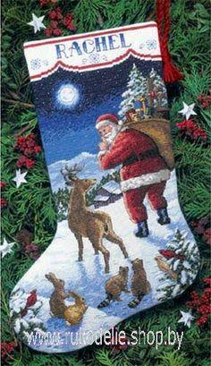 Приход Санты, новогодний сапожок. Вышивка / Embroidery. Рождество, Новый год. Kits for embroidery. Набор для вышивки крестом Dimensions. Поделки своими руками, подарок.