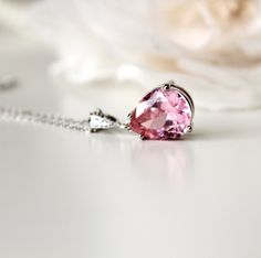 Sparkling Wedding Jewelry Bridal Necklace Linght Pink Cubic Zirconia Teardrop pendant silver chain necklace Wedding party Bridesmaid gifts