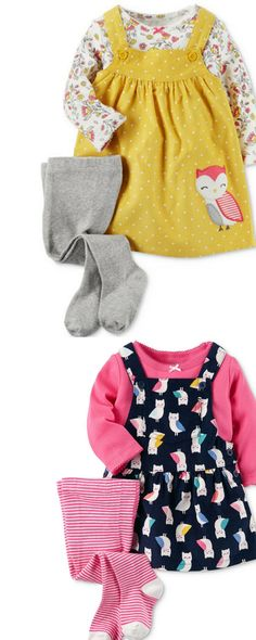 Adorable overall dress with long footed tights to keep your little one warm in the fall or winter.  | Girls | Toddler | Baby | Fashion | Clothes | Outfits | Fall | Winter | Stylish | Cute | Owls | Stripes | Pink | Kids |