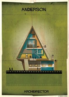 Italian illustrator Federico Babina with his new series 'Archidirector', designing houses inspired by various auteur directors. The series captures the general aesthetic of each director, whether imagining an art deco manifestation like that of Stanley Kubrick's design or a dreamy house like that based on Wes Anderson.