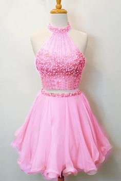 Pink chiffon round neck short prom dress for teens, cute 2 pieces mini…