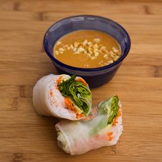 Vietnamese Summer Rolls.  Make with shrimp or chicken.  One of my favorite meals to make and to eat.  Very tasty!  Very healthy!