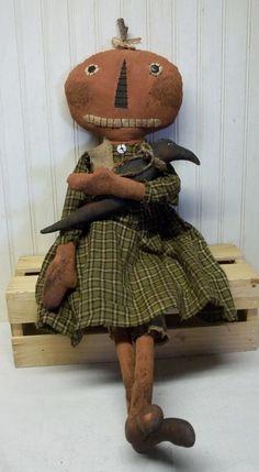 Primitive Grungy Big Smiling Halloween Pumpkin Girl Doll & Her Black Crow #NaivePrimitive