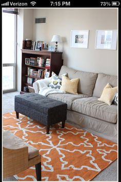 Grey and muted orange room, look at the Rug mom!