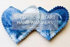 DIY Shibori Heart Hand Warmers
