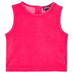 Chicas T-Shirt Liso - Top sin mangas en tejido terry liso para niña, Shocking pink front