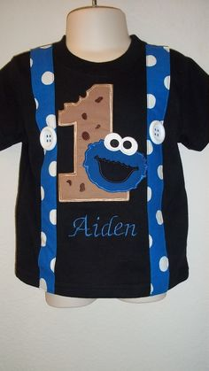 Blue Monster with Cookie Suspender Shirt in Black by kwatson2010, $23.00
