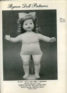 """Byron Doll Pattern 1980's 223 Soft body for 15 1/2"""" doll Old Store Stock Sewing Pattern by LanetzLivingPatterns on Etsy"""