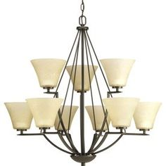 progress lighting bravo 9 light antique bronze chandelier more