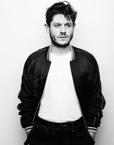 Iwan Rheon styled by Kelly-Ann Hughes in a Blue Blue Japan bomber jacket with a Sunspel t-shirt and E.Tautz jeans.