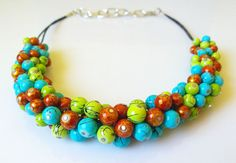 Beaded spring fancy handmade necklace by EmilyArtHandmade on Etsy