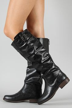 Bamboo Montage-01N Buckle Riding Knee High Boot