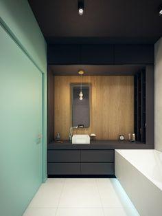 La couleur turquoise est une couleur très vitale et organique. Découvrez un appartement moderne aux accents en turquoise par la compagnie PLASTERLINA.
