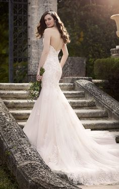 Trumpet Open Back Blush Strapless Romantic Lace Wedding Dress Sweetheart Neck