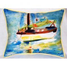 Yellow Sailboat 16x20 Outdoor Pillow