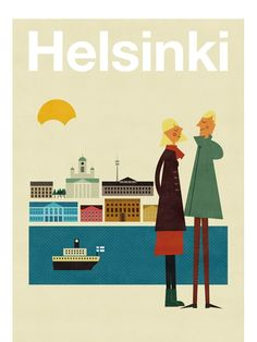 Poster Illustration: Helsinki by Blanca Gómez as part of Human Empire's Artist Series Retro Poster, Poster S, Vintage Travel Posters, Poster Prints, Art Prints, Illustrations Vintage, Illustrations Posters, Photo Vintage, Vintage Ads