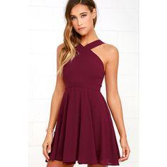 Forevermore Burgundy Skater Dress ($59) ❤ liked on Polyvore featuring dresses, purple, purple skater skirt, purple dress, flare dress, halter skater dress and flared skirt