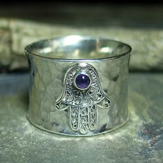 Hamsa Ring Yoga Jewelry Amethyst Sterling Silver Wide Band - Blessings of Peace
